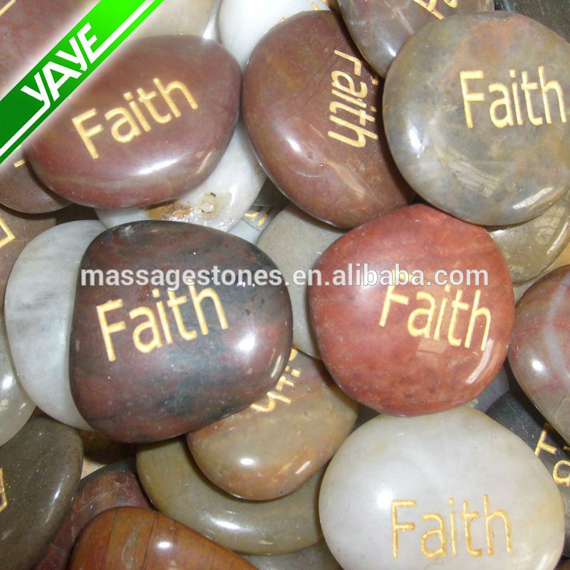 Engraved colorful river stones etched with inspiration word,phrase ,logo rock