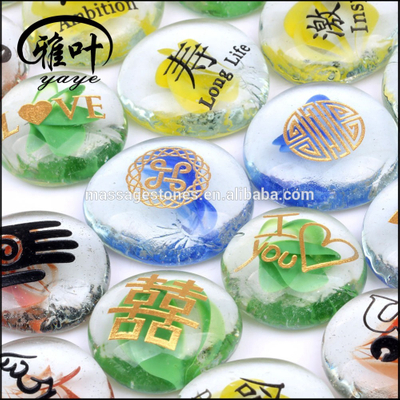 Multi-Colored Engraved Glass Beads Stones for Sale