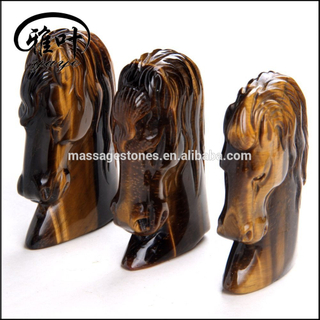 "Bulk 3"" Carving Yellow Tiger Eye Feng Shui Crafts Natural Stone Horse Head Figurine"