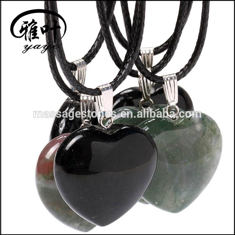 Wholesale Natural Agate Heart Shape Charming Pendant
