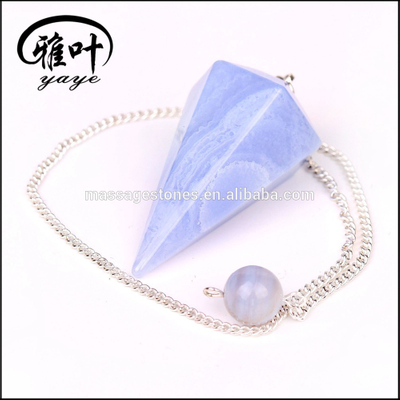 Natural Blue Lace Agate Crystal Pendulums for Magic Meditation
