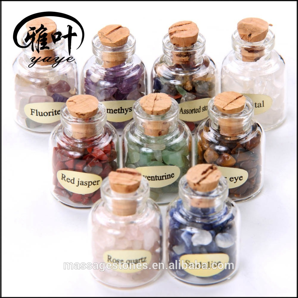 Natural Chips Stones Glass Mini Drift Bottle/Crafts Glass Stones Bottle with Wooden Cork