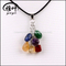 Natural 7 Color Chakra Tumbled Stone Pendant/Necklace