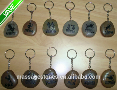 Wholesale Zen Stone Keychain with inspirational sayings on River rock