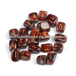 Reiki Red Tiger Eye wholesale runic engraved tumbled stones: rune stone set