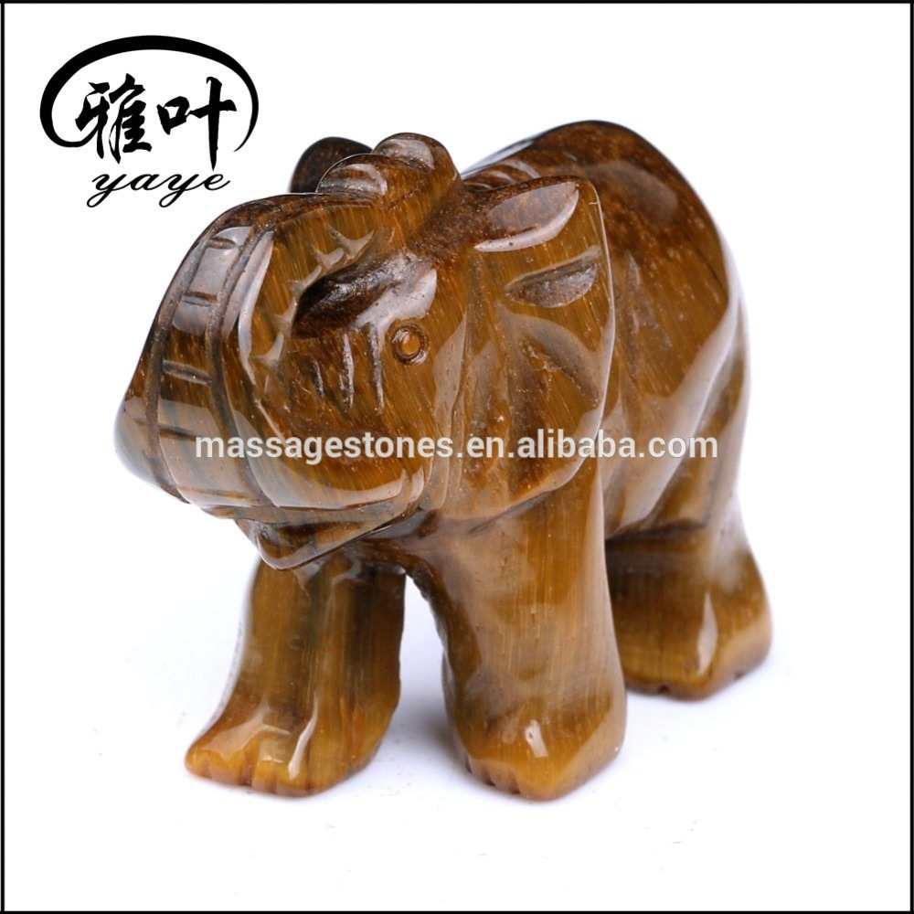 Yellow Tiger Eye Carved Gemstone Carved Elephant Statues for Sale