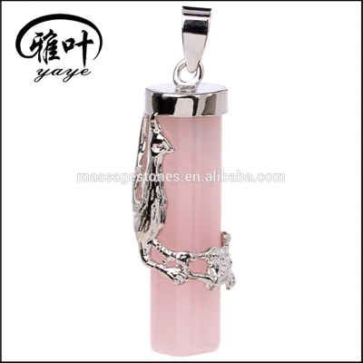 Natural Rose Quartz Stones Pendants with Phoenix Designs