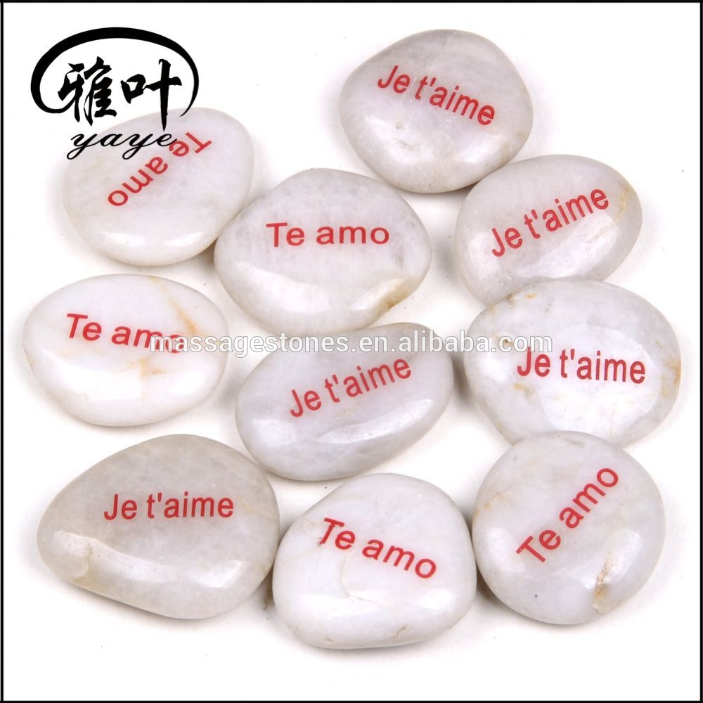 Natural High Polished Engraved White River Stone For Sale