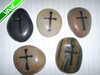 Engraved river stones etched with cross, word, image,phrase,logo rock