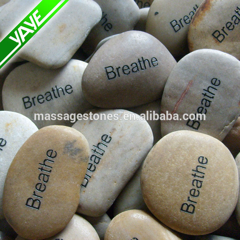 Engraved river stones etched with inspiration word,phrase, logo rock