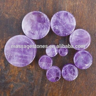 Organic Stone Tunnel Flesh Ear Natural Amethyst Stone Ear Plugs Gauge