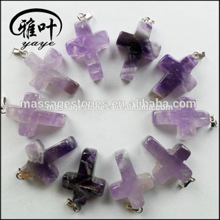 Natural Gemstones Cross Pendants Amethyst Cross Pendants