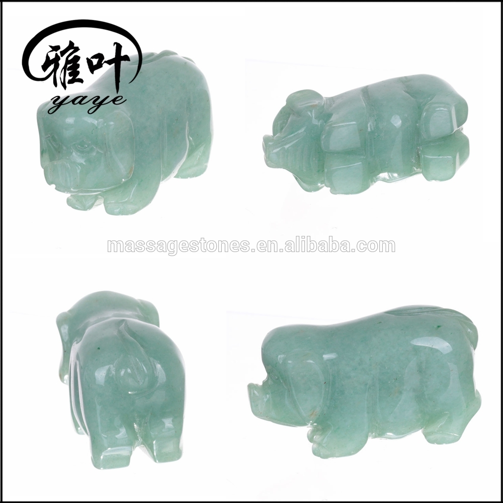 2'' Natural Green Aventurine Hand Carved Pig Statues