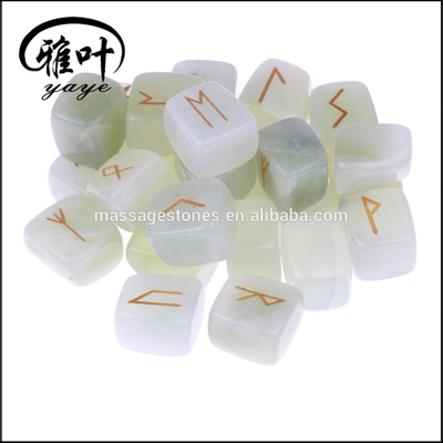 Wholesale Natural Green Jade Fengshui Healing Runes Sets Sanskrit Stones
