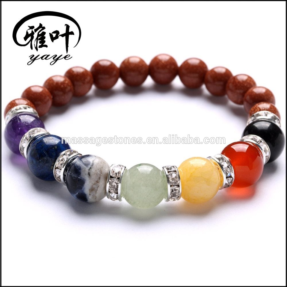 8mm gemstone beads spiritual 7 color Chakra Bracelet