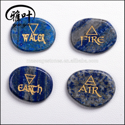 Natural Lapis Lazuli Stones Sets Engraved with Water,Fire,Earth,Air Symbols