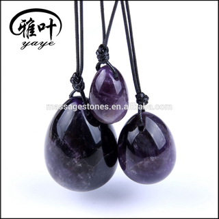 Natural Crystal Amethyst Carved Eggs Set