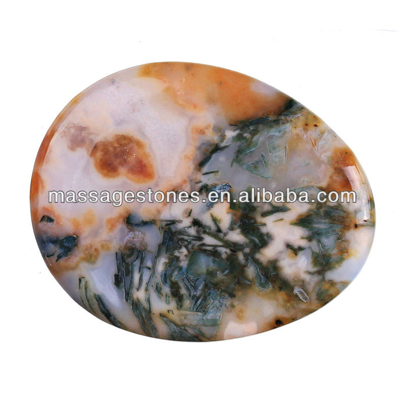 1.7'' Bamboo Leaf Agate Worry Stone For Bussiness Gift