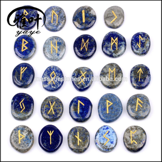 Natural Stones Lapis Lazuli Engraved Runes Palm Pocket Stones Wholesale
