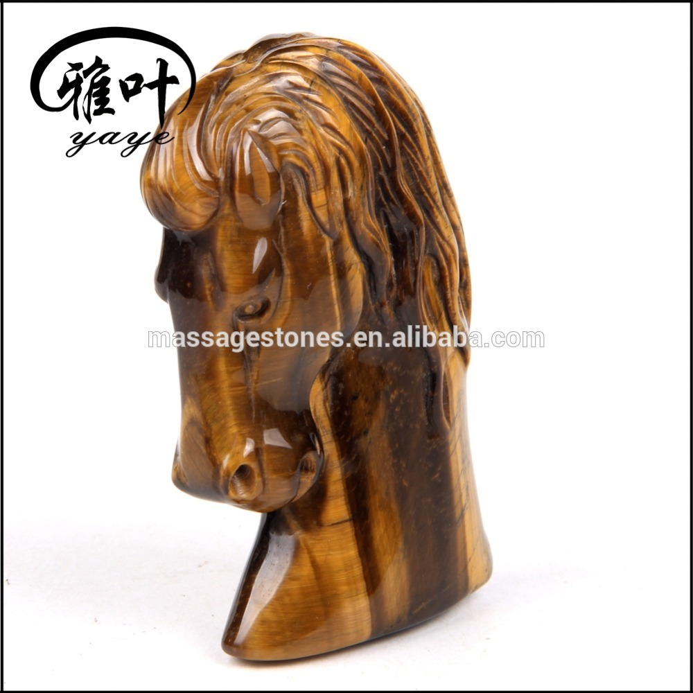 Natural Yellow Tiger Eye Hand Carved Decorative Horse Head
