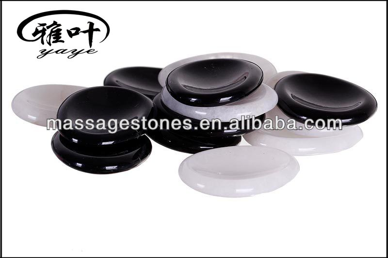 "Wholesale 1.7"" Black Obsidian and White Jade Worry Stone Set"