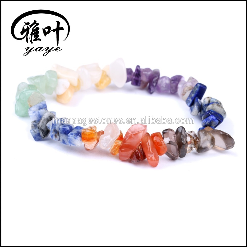 Wholesal cheap chip beaded crushed raw semi-precious stone chakra bracelet