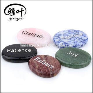 Natural Semi Precious Stone Engraved Inspirational Words Palm Stone For Sale