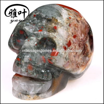 Wholeale African Blood Stone Healing skull Sculpture Carved Gemstone Skull
