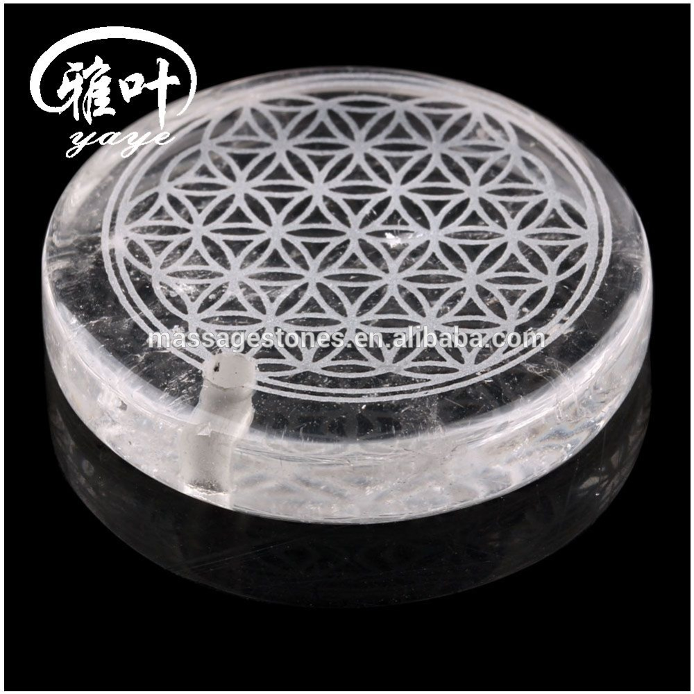 Natural Crystal Laser Engraved Flower of Life Pendant Chakra Healing Pendant