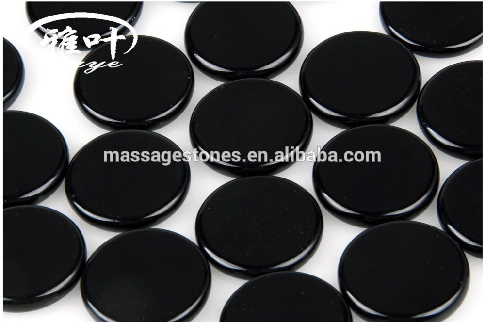 Wholesale Black Obsidian Double Flat Round Palm Stone