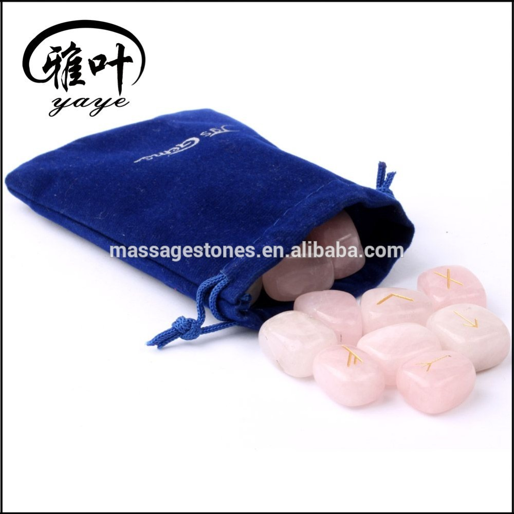 Bulk Wholesale Natural Rose Quartz Stone Engraved Tumbled Stone Rune Set