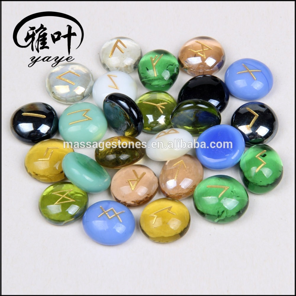 Wholesale Glass Stones Engraved Runes Chakra