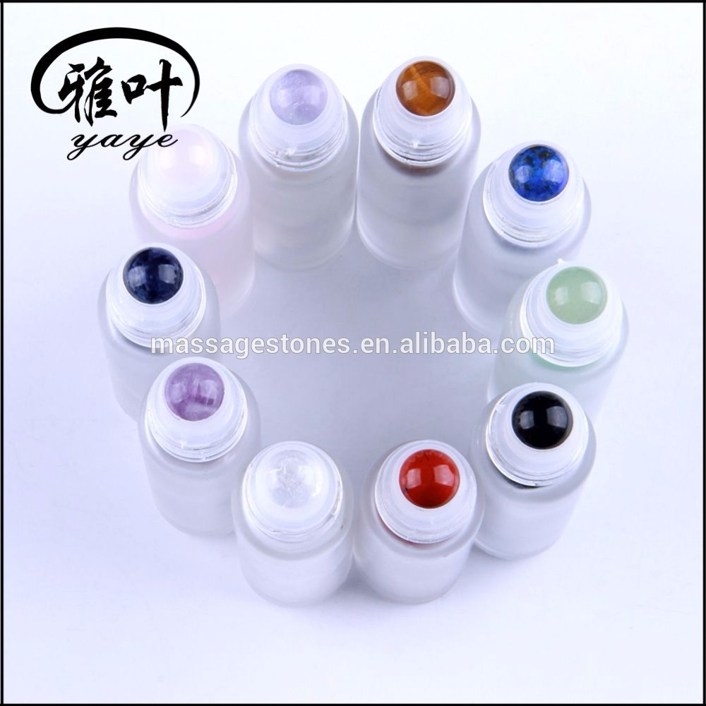 Essential Oil Massage Glass Bottle with Natural Gemstone Top Roller Ball