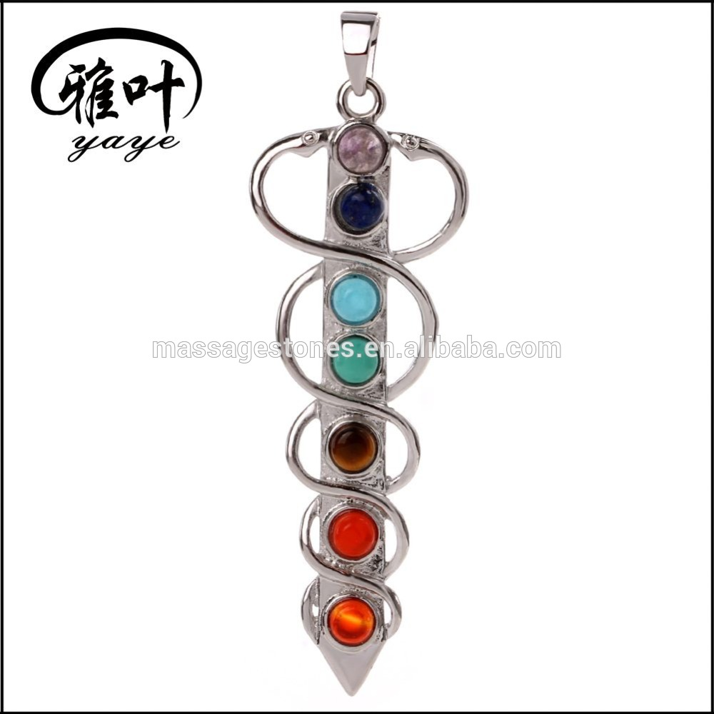 Wholesale Crystal Chakra Pointed Metal Charm Pendant