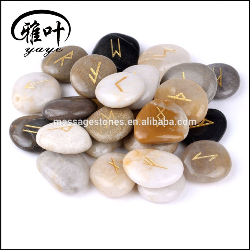 Wholesale Mixed engraved rune symbol pebble stone set