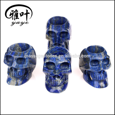 Wholesale crystal skulls hand carved lapis lazuli skull candle holder