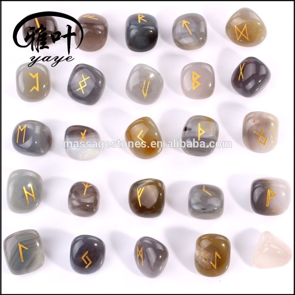 Natural Gray Agate Stone Engraved Tumbled Stone Rune Set