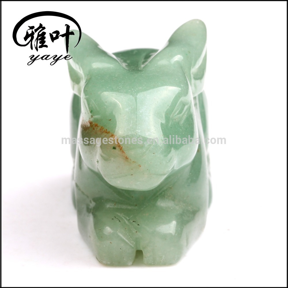 "Bulk 2"" Carving Rabbit Statue Natural Green Aventurine Carved Tiny Rabbit for Gift"