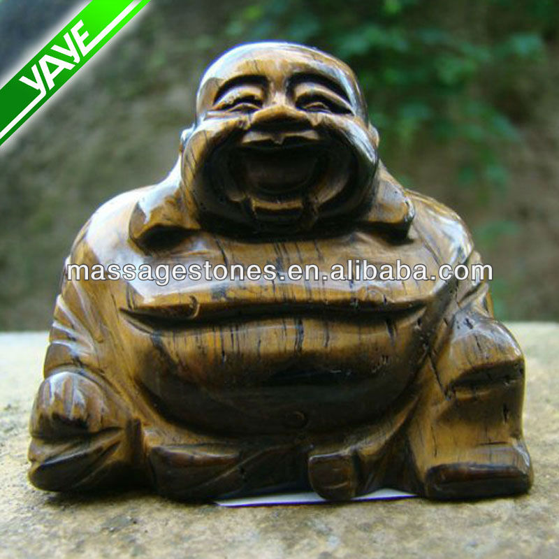 Tiger Eye 2.5'' Hand Carved Happy Laughing Buddha