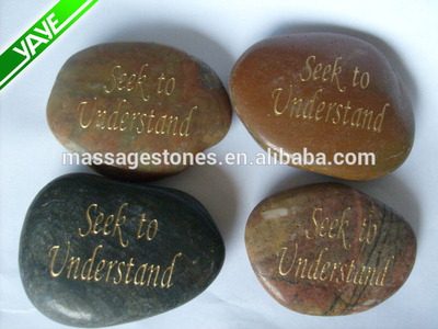 Engraved colorful river stones etched inspiration phrase rock