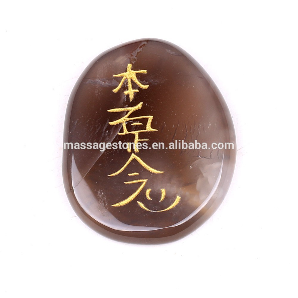 Bulk Engrave Natural Agate Chakra Palm Stone Set