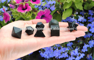 7 Pcs Black Tourmaline Crystal Platonic Solids Sacred Geometry Set