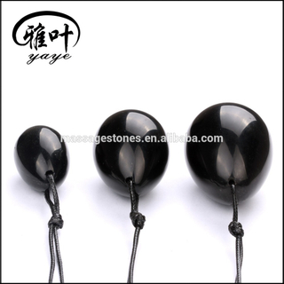 Wholesale natural Black Obsidian gemstone jade eggs yoni egg kegel