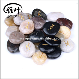 Wholesale Natural River Stone Gift Engraved Reiki Pebble Rune Stones