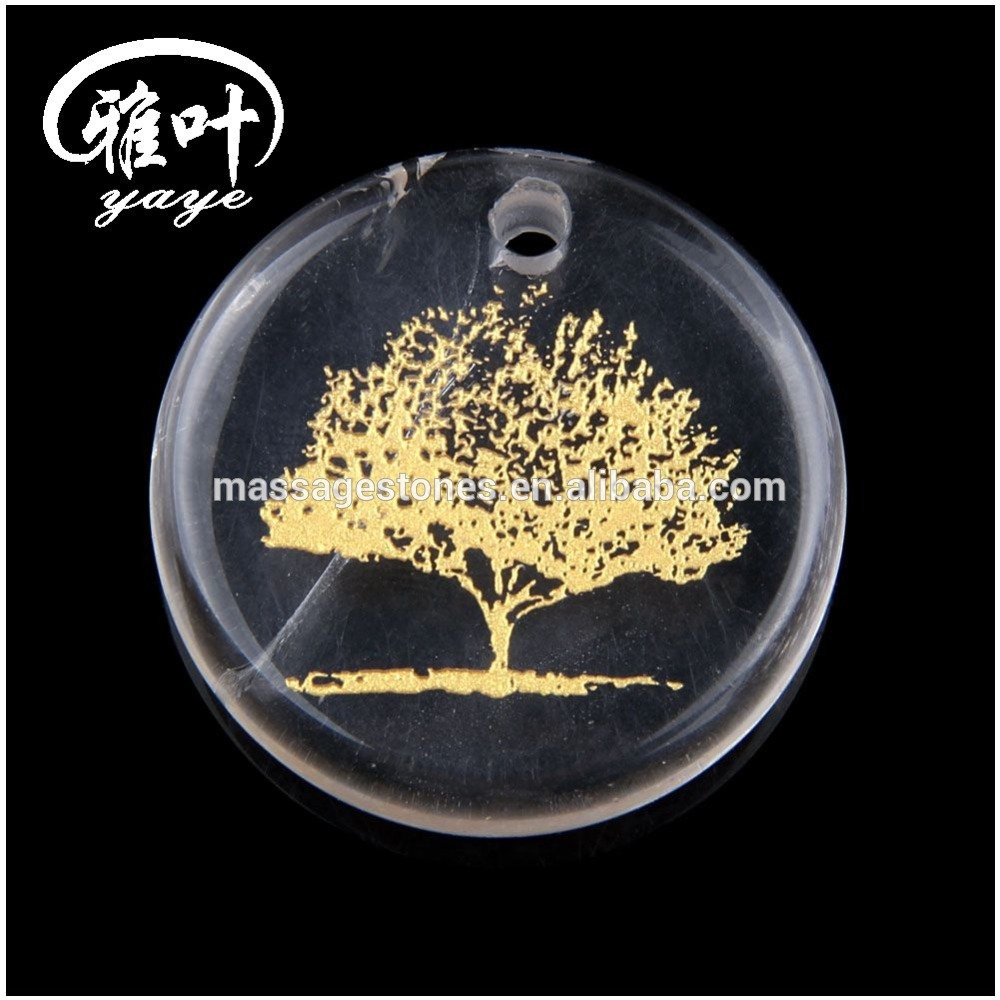 Natural A Grade Crystal Engraved Tree Of Life Round Palm Stone Pendant
