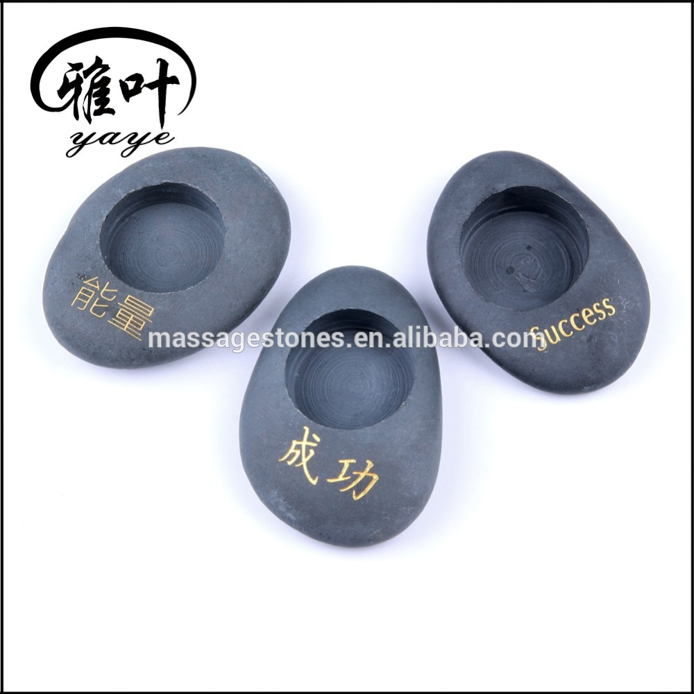 Wholesale engraved stones Natural River Stone Candle Holder